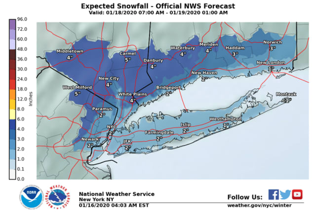 Expected snowfall totals in North Jersey.