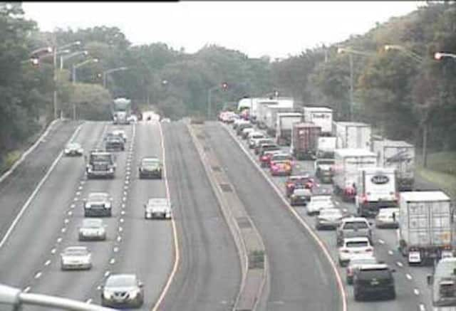 Traffic is heavy on I-95 in Greenwich after a tractor-trailer accident near Exit 2.