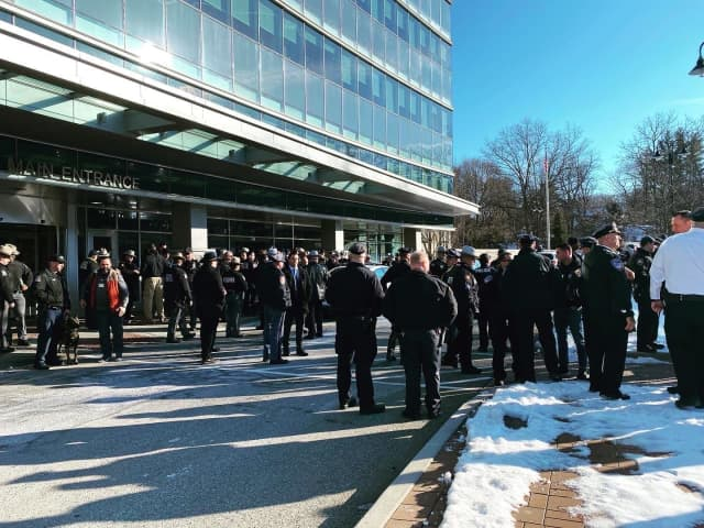 Law enforcement from across the region gathered at an area hospital to wish the sheriff's deputy who was wounded well.