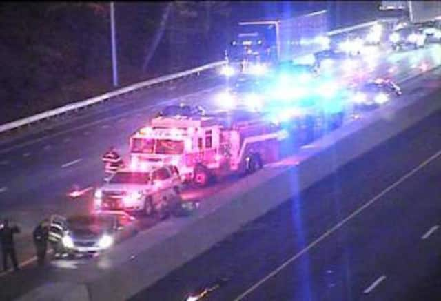A car fire on I-95 southbound between Exits 4 and 3 is blocking the left lane. Fire trucks are on the scene, DOT said.