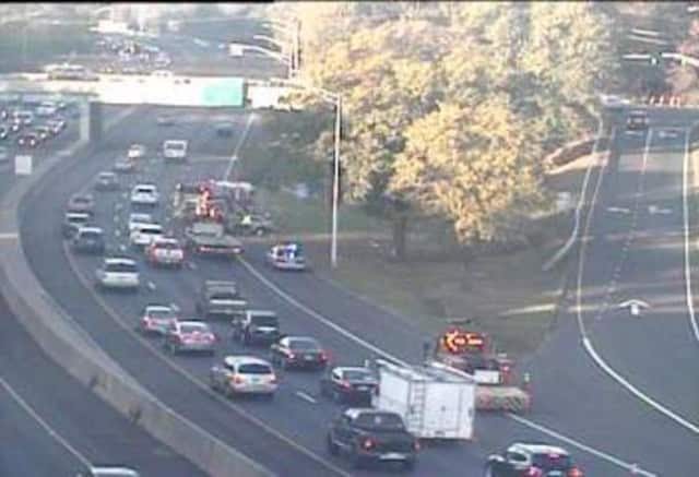 One lane of I-95 in Greenwich is blocked near Indian Field Road on Thursday morning due to a crash.