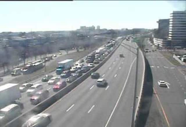 Traffic is jammed on I-95 in Stamford after a car hit a pedestrian.
