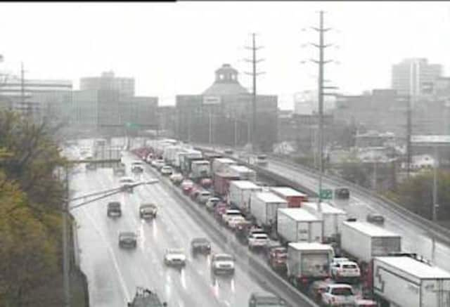Traffic was jammed on southbound I-95 through Stamford on Tuesday morning due to a fatal accident in Greenwich.