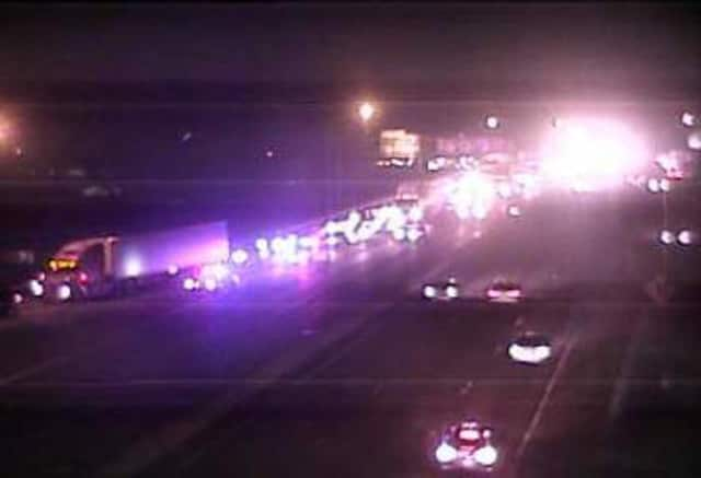 Traffic is diverted off I-95 northbound in Norwalk because of a crash between Exits 16 and 17 late Thursday.