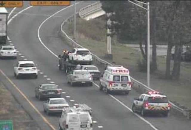 An accident on Route 8 southbound between Exits 2 and 1 in Bridgeport is blocking a lane Wednesday afternoon.