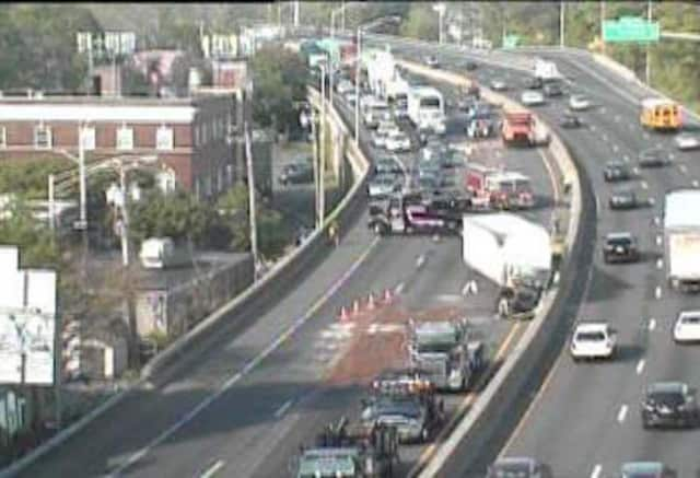 A car vs. tractor-trailer crash is causing a big mess on northbound I-95 in Stratford on Thursday morning.