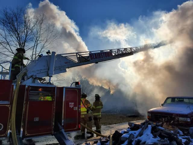A Knowlton house collapsed Monday in a fire.