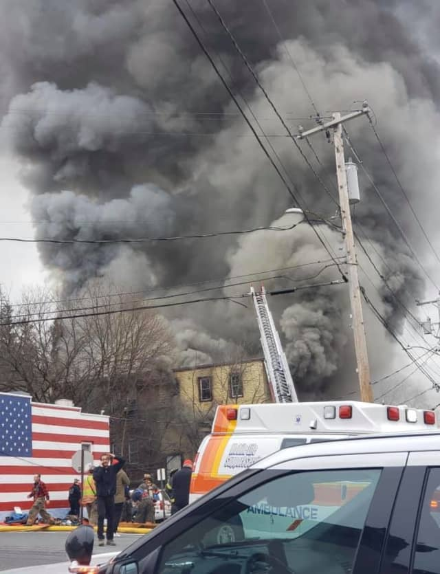 Smoke filling the air from the Wappingers Falls fire.