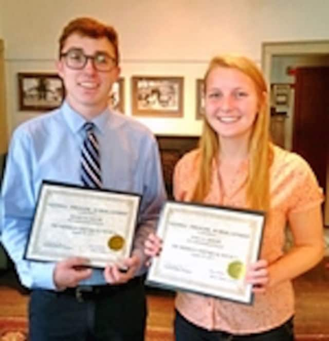 Daniel M. Taylor and Anika K. Berger received the Gloria Thorne Scholarships from the Sherman Historical Society