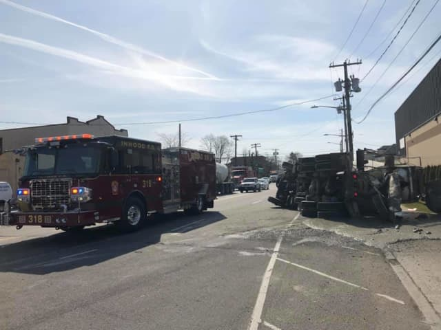 The Inwood Fire Department helped at the scene of a cement truck crash.