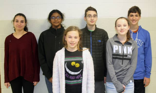 The winners of the eighth-grade writing contest.