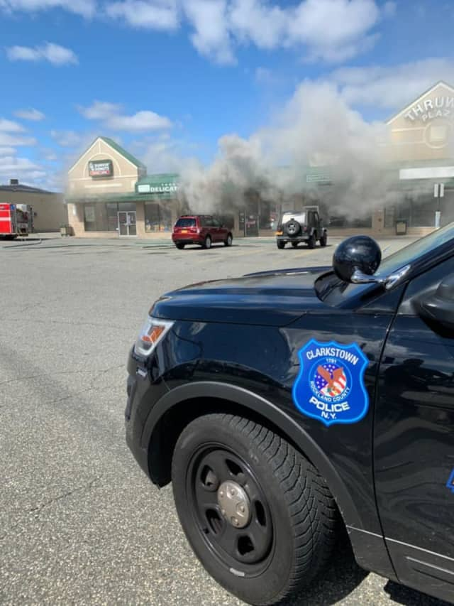 Route 59 is closed in both directions in Nanuet due to a fire.