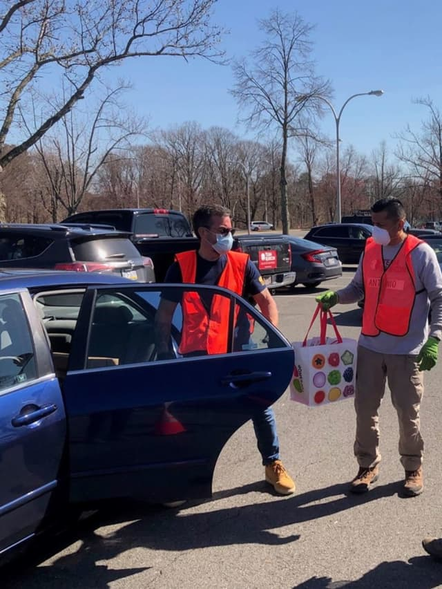 Free, drive-through food distribution started at Westchester Community College.