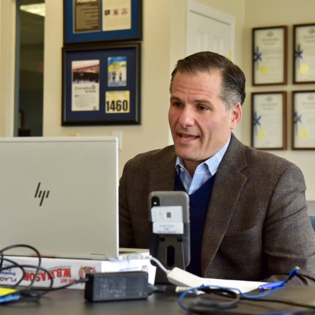 Dutchess County Executive Marc Molinaro during the live town hall meeting.