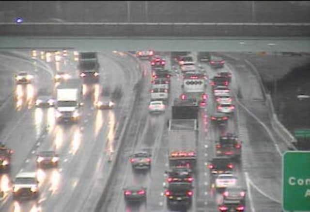 Brake lights along I-95 near Route 7 in Norwalk on Monday morning.