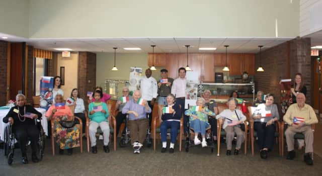 "Waveny's residents, patients and Adult Day Program participants celebrate ""A Meal in the Life"" program."
