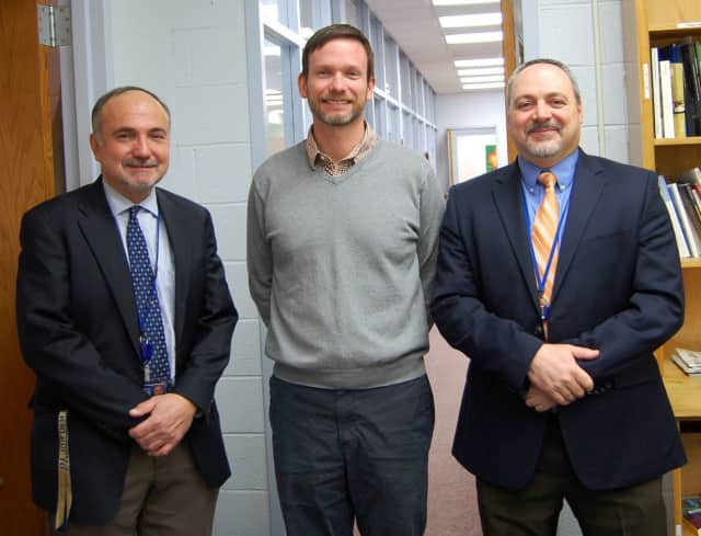 From left, Dr. Sabatini, Mr. Regar, and Mr. Matthew Spatz, Director of Guidance at Northern Valley Regional High School in Old Tappan.