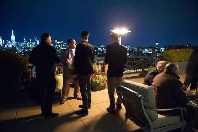 Smokers braved the cold of the Soho Grand Hotel terrace to savor Highclere Castle Cigars. Photograph by John Rizzo.