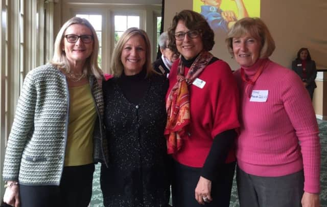 Assemblywoman Valerie Huttle with members of GWA branch: current co-president Lorraine LaShell, past presidents Dorothy Quinn and Judy Shivy at AAUW-NJ Annual Meeting.