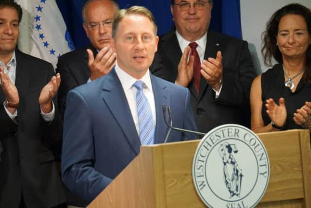 County Executive Rob Astorino with from left, Rye Brook Mayor Paul Rosenberg, Eastchester Town Supervisor Anthony Colavita, North Salem Town Supervisor Warren Lucas and Mamaroneck Town Supervisor Nancy Seligson.