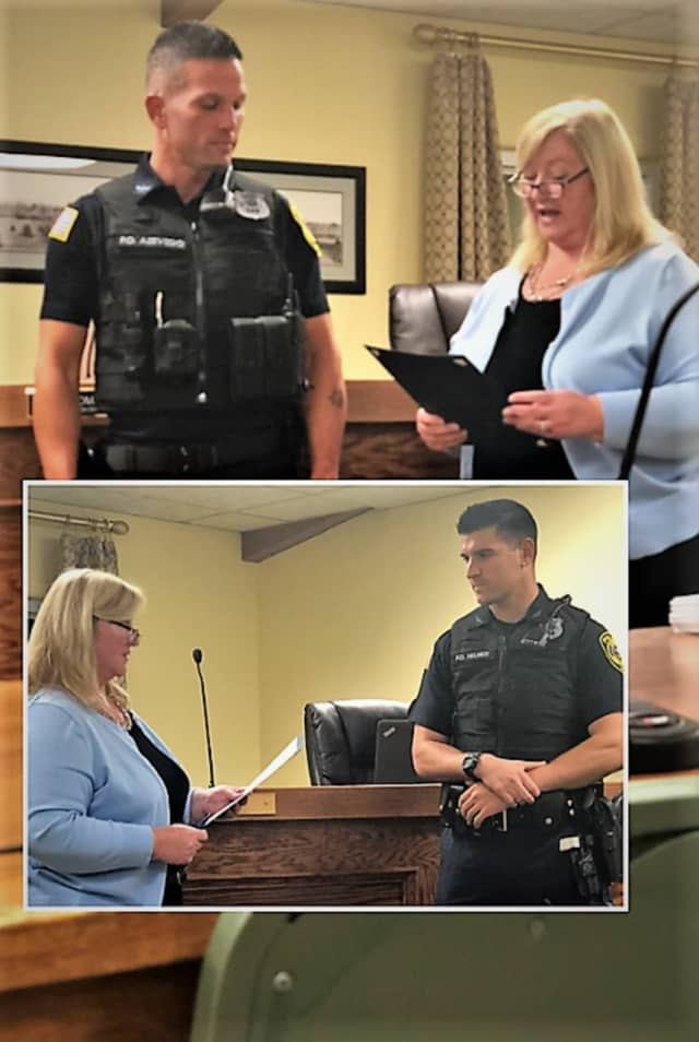 Allendale Police Officers Kevin Azevedo and Alex Helmer (inset) received awards from Mayor Liz White. Officer Chelsea Ferrara was unable to attend the ceremony at Thursday night's mayor and council meeting.