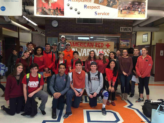 Members of Briarcliff High School's American Red Cross Club wore red to raise awareness for the American Red Cross mission.