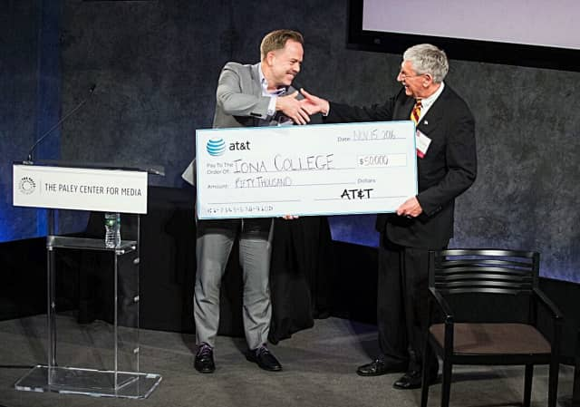 Part of an Iona event Tuesday included AT&T presenting its gift to Iona College for its SEMI program.