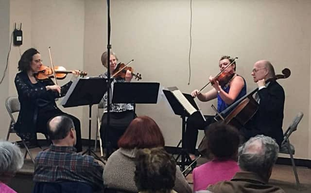 A group from the Adelphi Orchestra play at the Westwood Public Library in April.