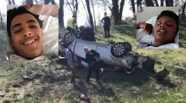Domenic Soto and Nahjeir Aikens recovering in Lancaster General.  Domenic's car had flipped over onto the grass near Route 222 northbound on Tuesday.