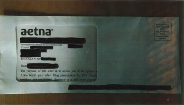 A sealed Aetna envelope received by a customer in Brooklyn, New York, exposing their personal information and HIV status.