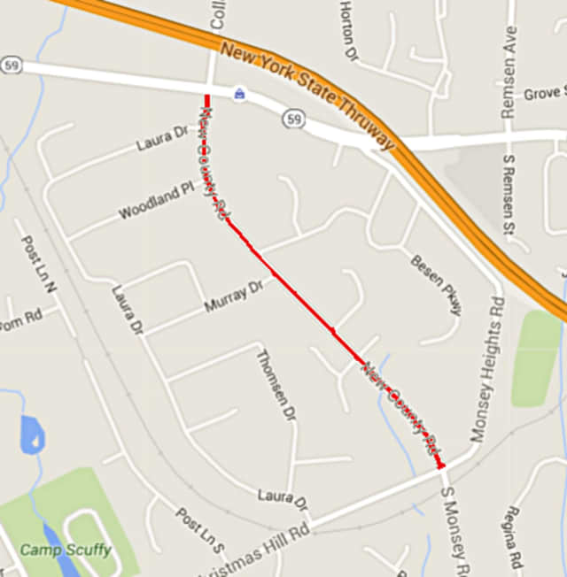 New County Road -- highlighted in red -- will have disruptions beginning on Tuesday.