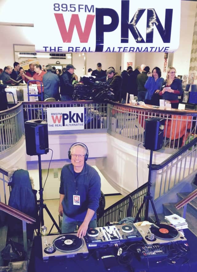 Al Bell, host of a weekly blues show on WPKN, spins some tunes at the last Music Mash.