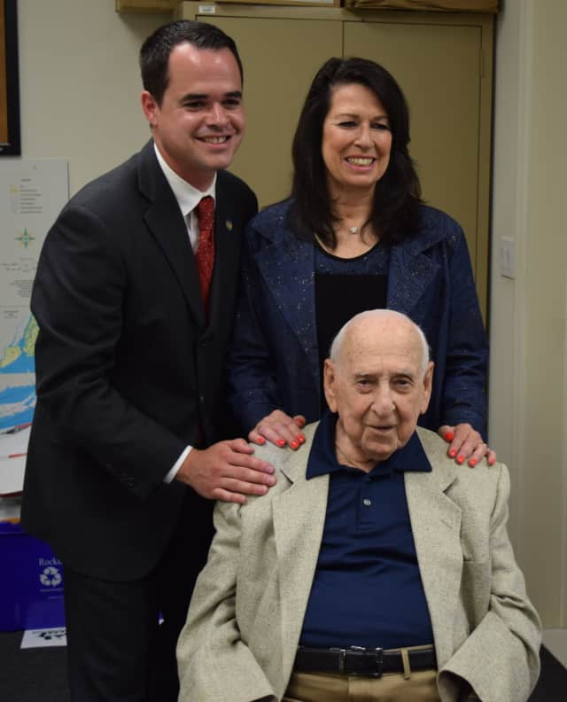 State Sen. David Carlucci presented a proclamation to Al Penchansky, a World War II veteran who turned 101 years old.