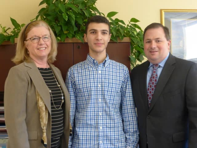 Photo from left to right: Mrs. JoAnn Barnard, Guidance Counselor, Alan Abboud, Mr. John P. Pascale, Principal