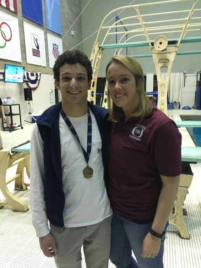 Alec DeCaprio with his diving coach Katrina Baker.