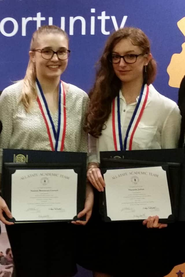 Bergen Community College students Noémie Broussoux-Coutard and Theranda Jashari have earned spots on the all-state academic team.
