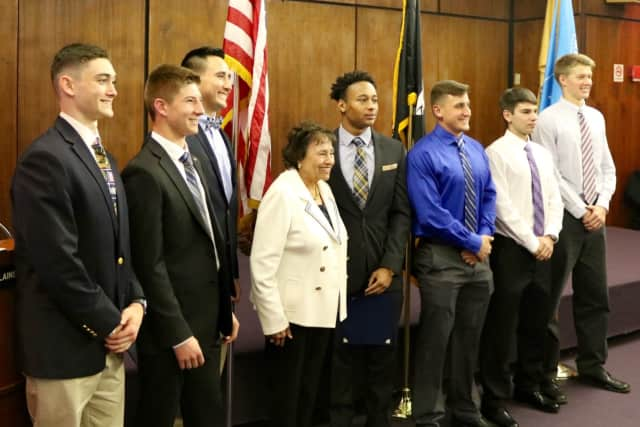 From left, Liam O'Hara, Jake Kurzhals, Matthew Hinkley, Rep. Nita Lowey, August St. Louis, Nicholas D'Allara, Renato Cocucci, Kyran Christopherson during a recent ceremony honoring the students.