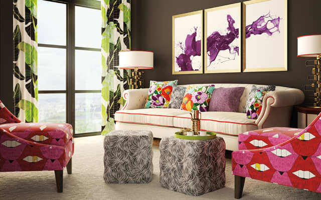 A selection of fabrics from the Allison Eden Pop Art Collection adds a real pop to this room. Courtesy LebaTex.