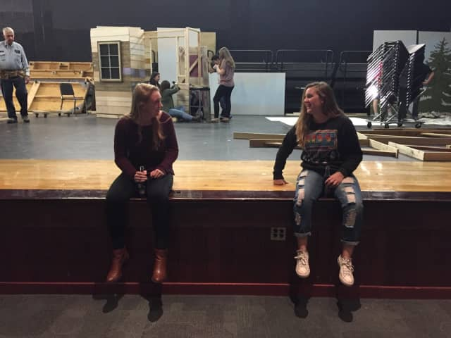 """Grace Curley and Megan Campbell rehearse for """"Almost, Maine."""""""