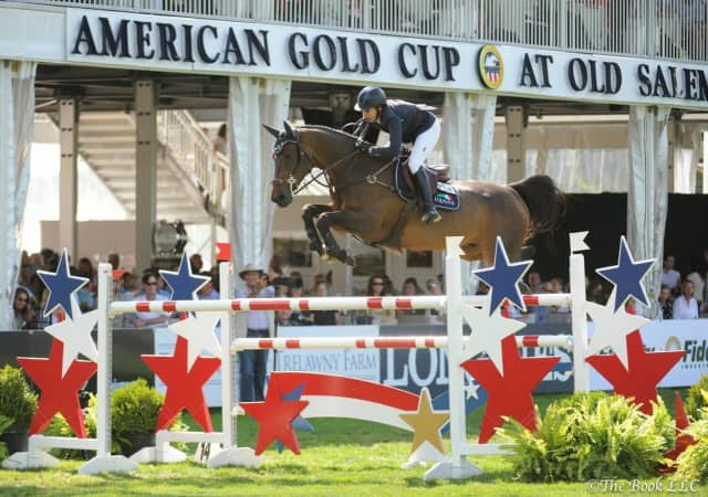 Laura Kraut aboard Deauville S placed second at the American Gold Cup show jumping competition at Old Salem Farm in North Salem.