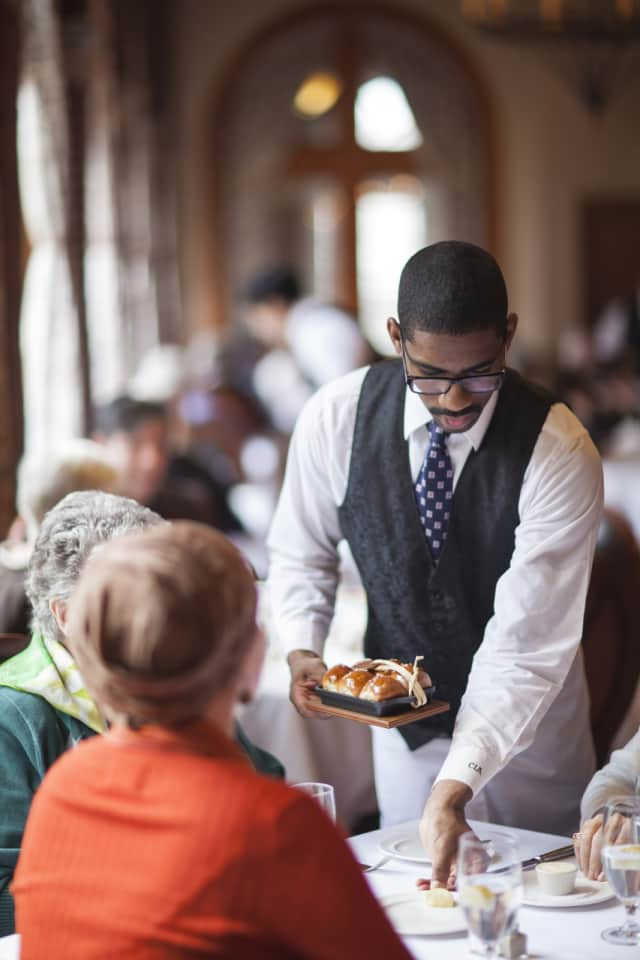 Lunch is served at the American Bounty restaurant at the Culinary Arts Institute in Hyde Park, N.Y.