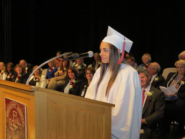 Angela Miano of Trumbull, whose grade point average topped the accelerated class, delivers a message to graduates at the last commencement ceremony for the Bridgeport Hospital School of Nursing.