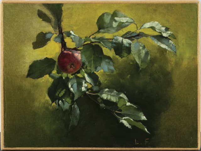 "John La Farge's ""Apple Branch"" oil on canvas, will be auctioned at Skinner Inc. Jan. 25."