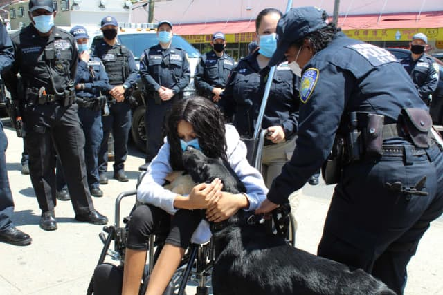April with PAPD K9 Officer Marianne Flores-Lopez and Donohue