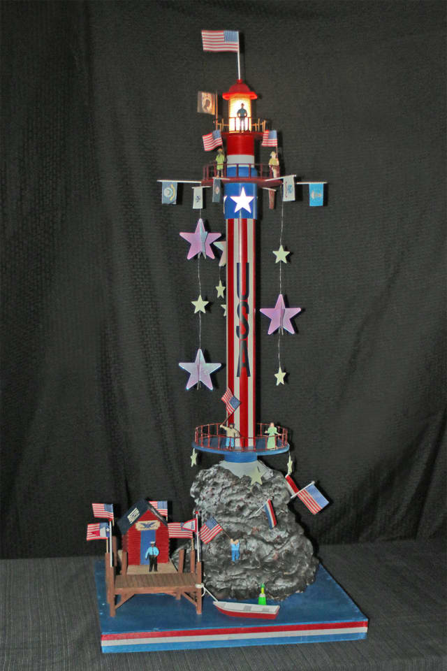 Charlie Weeks of Bethel created this patriotic lighthouse for the contest at the Maritime Aquarium at Norwalk.