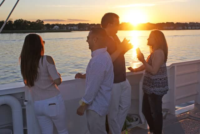 """Enjoy a relaxing """"TGIF Cruise"""" (Fridays) or """"Sunset Cruise"""" (Saturdays) out onto Long Island Sound aboard The Maritime Aquarium at Norwalk's R/V Spirit of the Sound."""