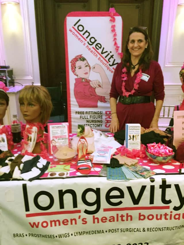 Owner Arline Schwechter displayed some of Longevity's products at a breast cancer awareness event Oct. 13 at Holy Name Hospital in Teaneck.