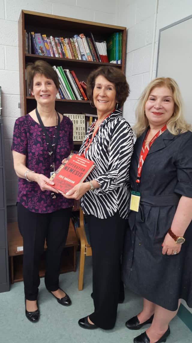Pictured from left to right: Pascack Valley High School Library Media Specialist Peggy White, along with Daughters of Vartan representatives Ellen Turnamian and Nancy Tutunjian Burdman.