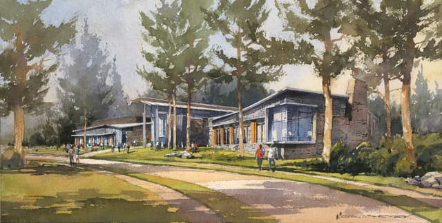 Artist watercolor rendering of Barbara Walters Center at Sarah Lawrence College. Image courtesy KSS Architects.