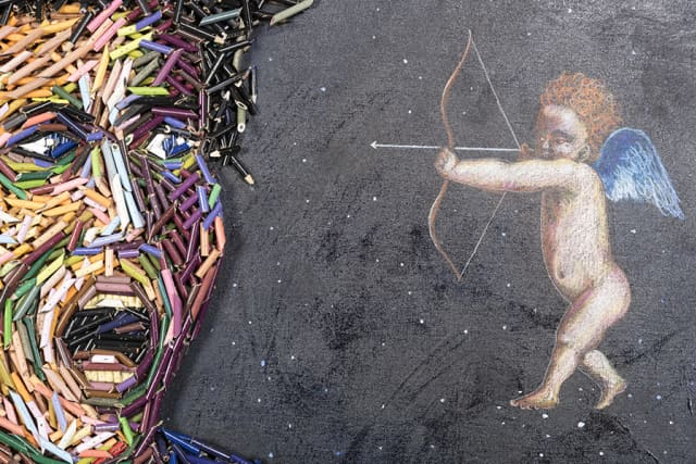 "Federico Uribe's ""The Fear of Cupid"" (2014. Color pencils and pencil drawings. From his ""Built-in Colors"" series."